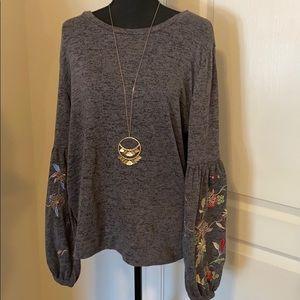 Time & Tru gray bell sweater feel blouse (063)